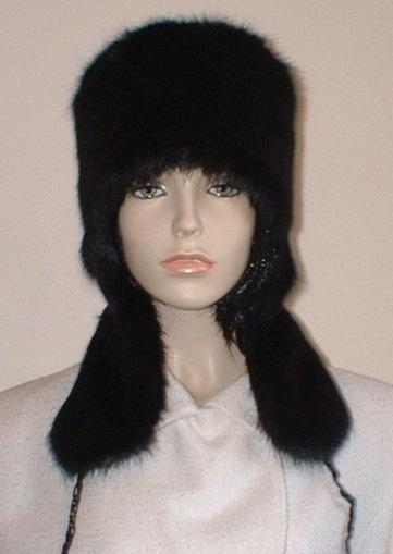 Black Mink Faux Fur Trapper Hat