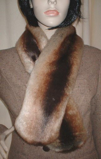 Golden Brown Chinchilla Faux Fur Pull Through Scarf