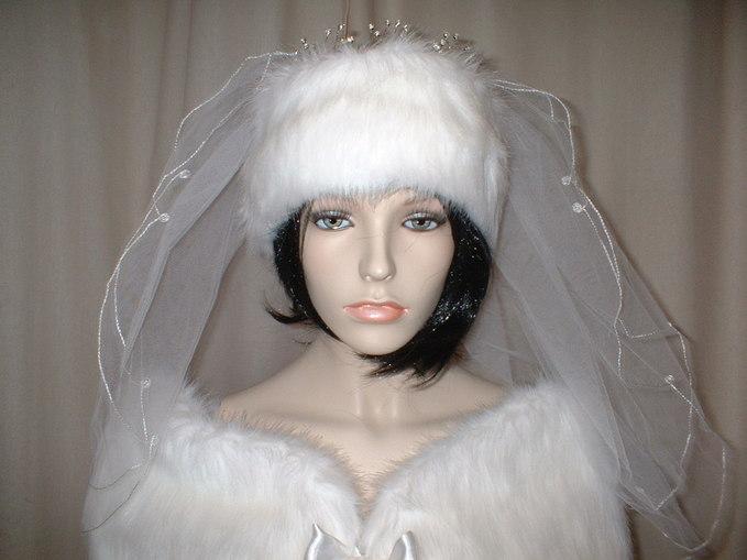 Snow White Faux Fur Wedding Headband