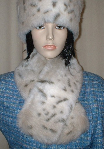 Snow Lynx Faux Fur Neck Scarf
