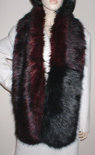 Two Tone Scarf with Tuscan Red and Black Bear Faux Fur