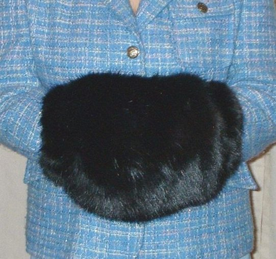 Black Mink Faux Fur Muff