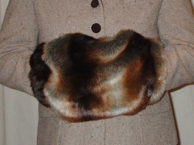 Golden Brown Chinchilla Faux Fur Muff