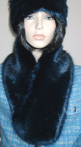 Midnight Navy Blue Faux Fur Neck Scarf