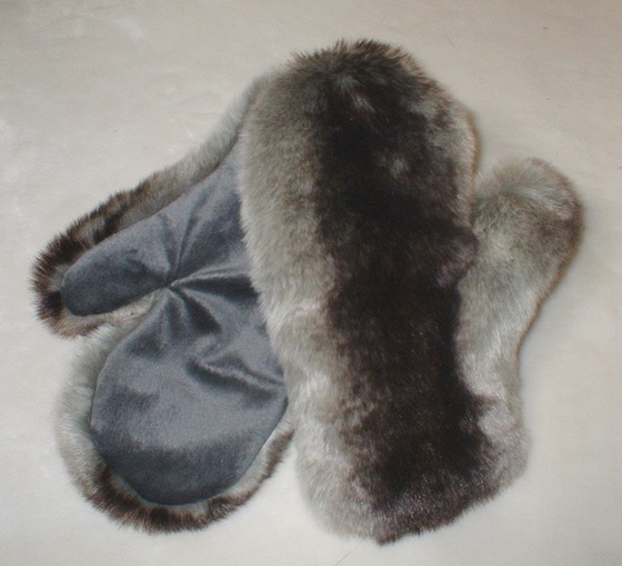 Chinchilla Faux Fur Mittens