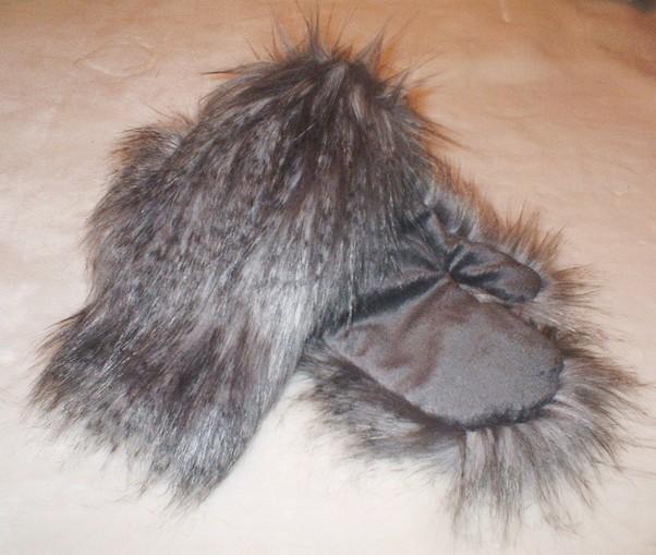 Siberian Wolf Faux Fur Mittens
