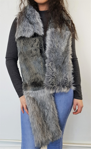Arctic Wolf and Silver Musquash Faux Fur Striped Scarf