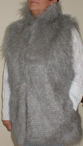 Mongolian Grey Faux Fur Long Gilet