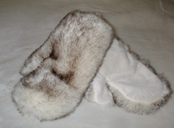 Polar Fox Faux Fur Mittens