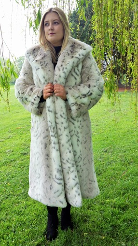 Snow Lynx Faux Fur Long Coat