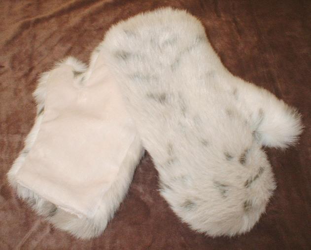 Snow Lynx Faux Fur Mittens