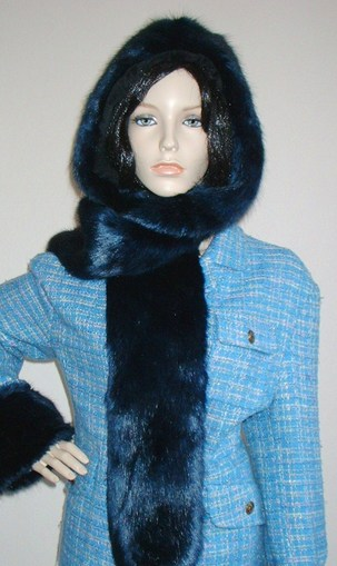 Midnight Navy Blue Faux Fur Hoodie