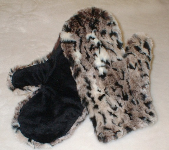 Wild Cat Faux Fur Mittens
