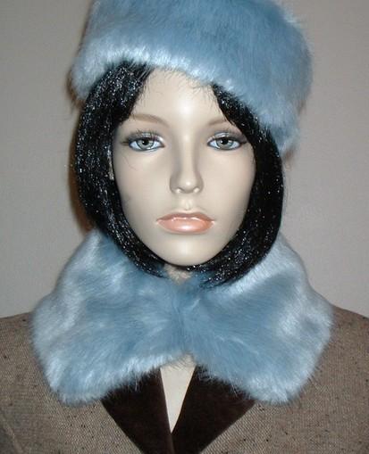 Powder Blue Faux Fur Short Collar