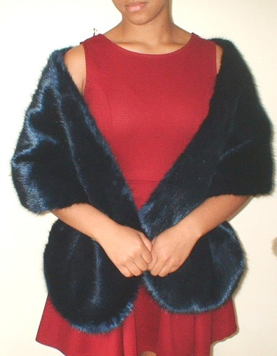 Midnight Navy Blue Faux Fur Stole