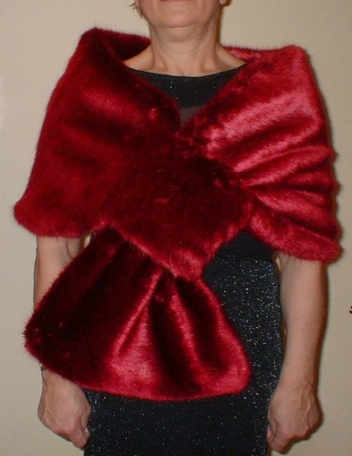 Ruby Red Faux Fur Pull Through Stole