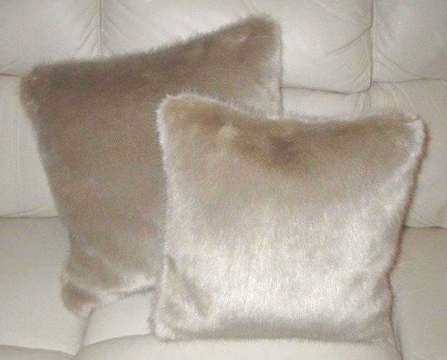 Honey Blonde Faux Fur Cushions