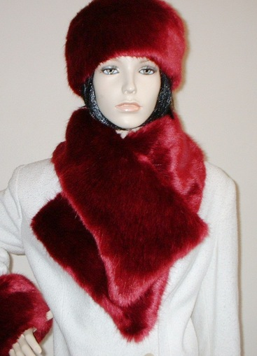 Ruby Red Faux Fur Vintage Asymmetric Scarf