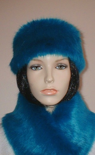Azure Blue Faux Fur Slim Collar/ Headband