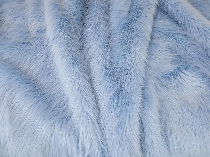 Baby Blue Faux Fur Fabric Per Meter