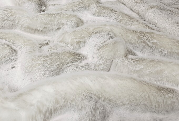 Beige Frost Faux Fur Fabric Per Meter