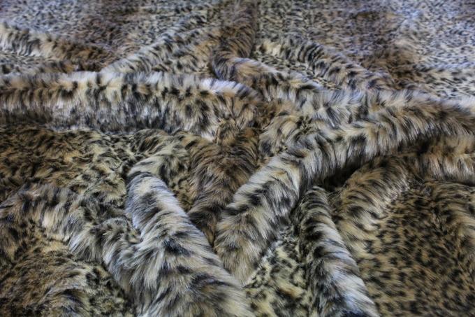 Beige Ocelot Faux Fur Fabric Per Meter