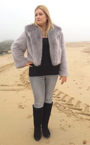 Silver Mink faux Fur Cropped Jacket