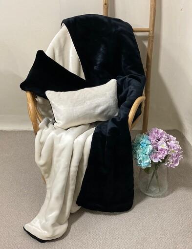 SALE Double Fur Black & Cream Moleskin Throw with Cushions