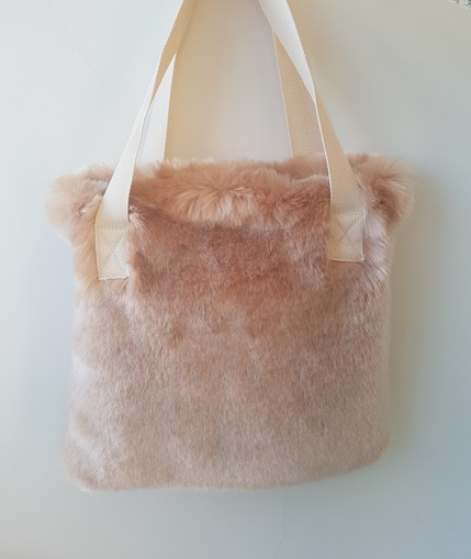 Tissavel Blush Faux Fur Tote Handbag