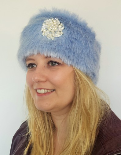 Powder Blue Faux Fur Headband with Diamante Brooch