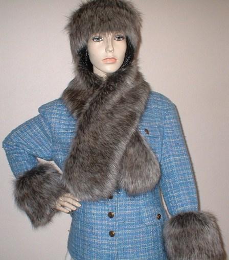Timber Wolf Faux Fur Cuffs