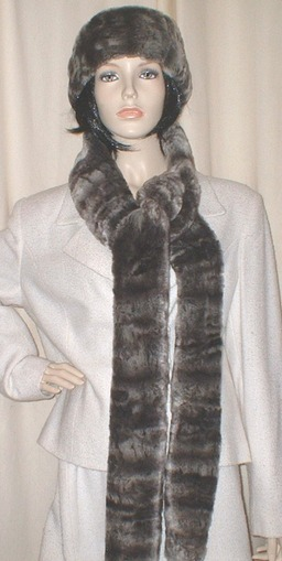 Vintage Silver Astra Faux Fur Super Long Scarf