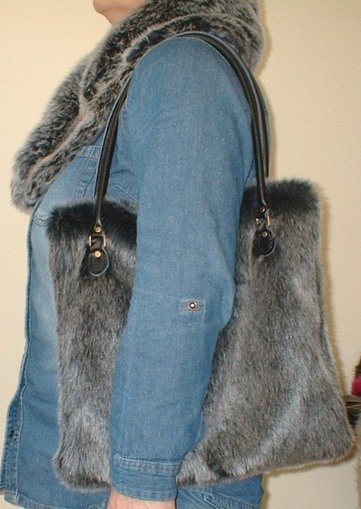 Arctic Wolf Faux Fur Bag