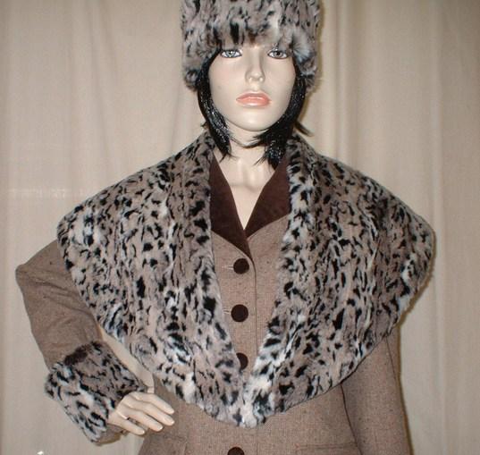 Wild Cat Faux Fur Shawl Collar