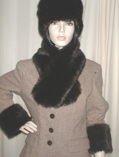Mahogany Mink Faux Fur Cuffs