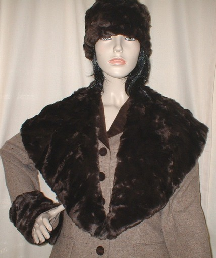 Chocolate Astra Faux Fur Shawl Collar