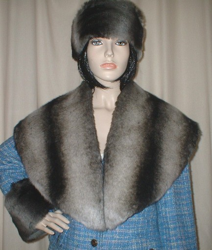Chinchilla Faux Fur Shawl Collar