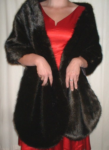 Mahogany Mink Faux Fur Long Stole