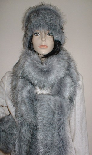 Silver Musquash Faux Fur Super Long Scarf