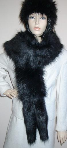 Black Bear Faux Fur Tail Scarf