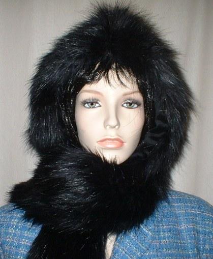 Black Bear Faux Fur Hoodie