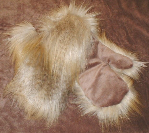 Coyote Faux Fur Mittens