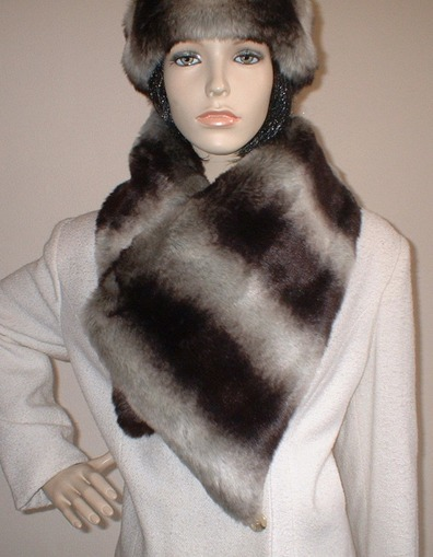 Chinchilla Faux Fur Asymmetric Scarf
