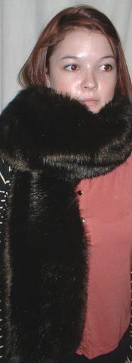 Mahogany Mink Faux Fur Traditional Scarf