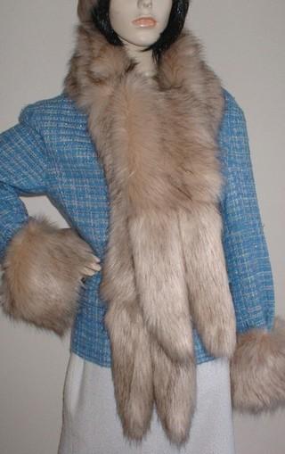 Fawn Musquash Faux Fur Tail Scarf