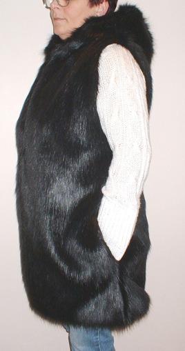 Black Bear Faux Fur Knee Length Gilet