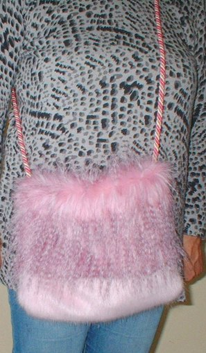 Pretty in Pink and Raspberry Cream Faux Fur Shoulder Bag