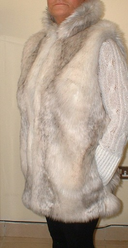 Snow Wolf Faux Fur Long Gilet