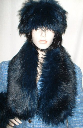 Midnight Blue Faux Fur  Neck Scarf