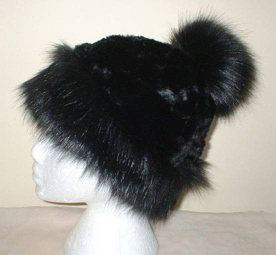 Black Bear Faux Fur Bobble Hat